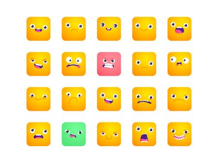 Set van vierkante emoji. Smile-pictogrammen. Vector emoticons die op wit worden geïsoleerd. Emoji voor grappige vlakke stijl