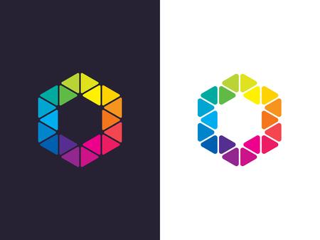 Zeshoek logo sjabloon. Abstracte geometrische zeshoek logo. Vector Stockfoto - 90041086