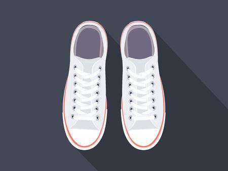 Witte gympen. Sportschoenen. Schoenen voor hardlopen. Vector illustratie Stock Illustratie