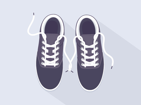 Black sneakers. Sport shoes. Shoes for running. Vector illustration