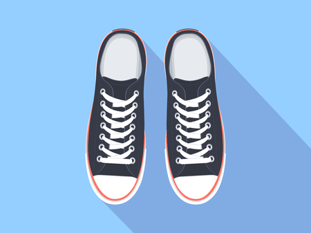 Sneakers top view. Flat sport shoes vector illustration. Isolated realistic keds Фото со стока - 90041084