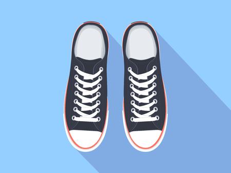 Widok z góry trampki. Ilustracja wektorowa płaskie buty sportowe. Na białym tle realistyczne keds