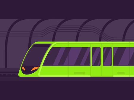 Passenger express train. Subway transport underground train. Metro train vector illustration