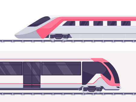 Passenger express train. Subway train. Vector illustration