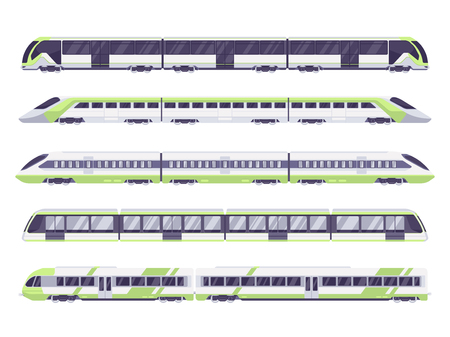 Set of passenger train. Subway transport underground train. Metro train vector illustration