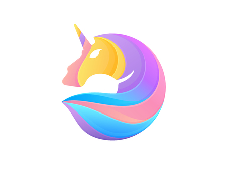 Rainbow unicorn icon isolated on white background. Vector unicorn head with a rainbow mane