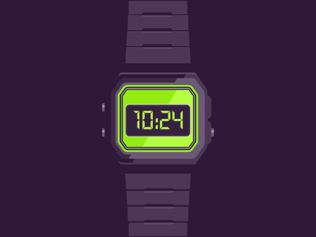 Electronic watch. Hand watch vector illustration