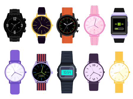 Vector Set of men's and women's watches. Watches collection isolated on white background