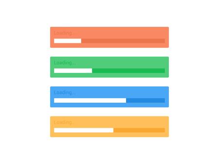 Flat progress upload indicator bar. Vector process indicator