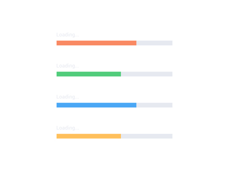 Vector progress loading bar set. Flat process indicator