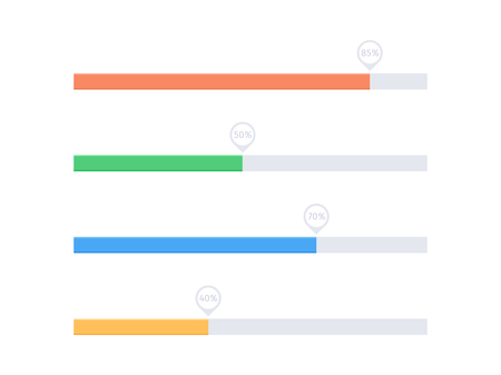 Flat progress upload indicator bar. Vector process indicator