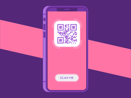 Scanning QR code with smartphone. Scan QR code to mobile phone. Vector illustration