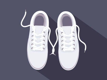 White sneakers. Sport shoes. Shoes for running. Vector illustration Фото со стока - 90752643
