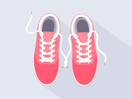 Pink sneakers. Sport shoes. Shoes for running. Vector illustration