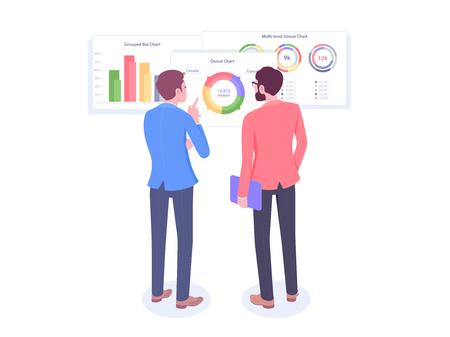 Businessman looks at growth chart. Vector illustration Stock Illustratie