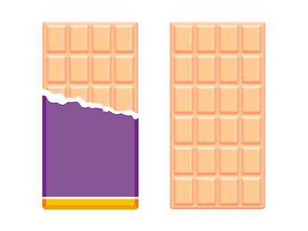 Melkchocoladerepen in open verpakking. Chocolade plat ontwerp. Vector illustratie Stockfoto - 90753047