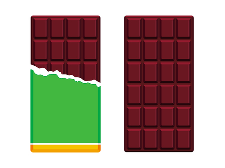 Dark chocolate bars in open package. Chocolate flat design. Vector illustration
