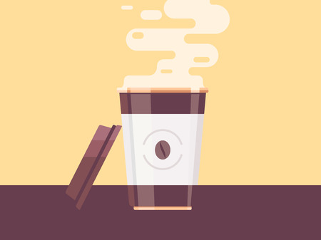 Coffee cup vector illustration. Disposable coffee cup