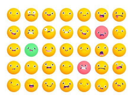 Set of circle emoji. Smile icons. Vector emoticons isolated on white. Funny flat style emoji Stock Illustratie