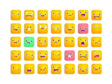Set of square emoji. Smile icons. Vector emoticons isolated on white. Funny flat style emoji