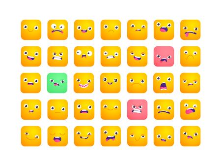 Set of square emoji. Smile icons. Vector emoticons isolated on white. Funny flat style emoji
