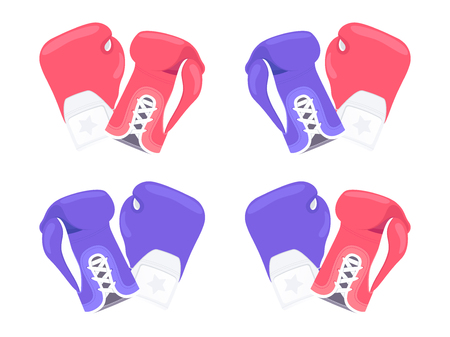 Pair of boxing gloves. Red and blue gloves icon isolated on white background. Vector illustration Stock Illustratie