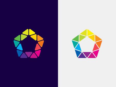 Pentagon logo template. Abstract geometric pentagon logotype. Vector