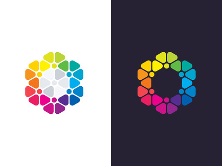 Hexagon logo template. Abstract geometric hexagon logotype. Vector