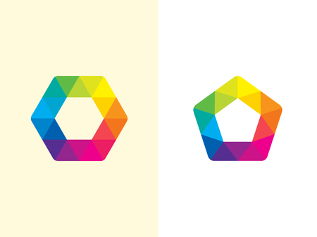 Hexagon logo template. Abstract geometric pentagon logotype. Vector