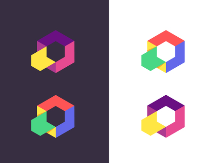Hexagon logo. Abstract geometric logotype. Vector