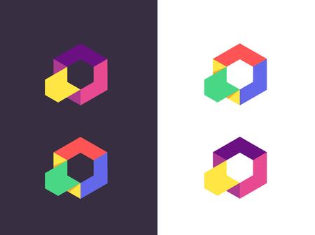 Hexagon logo. Abstract geometric logotype. Vector