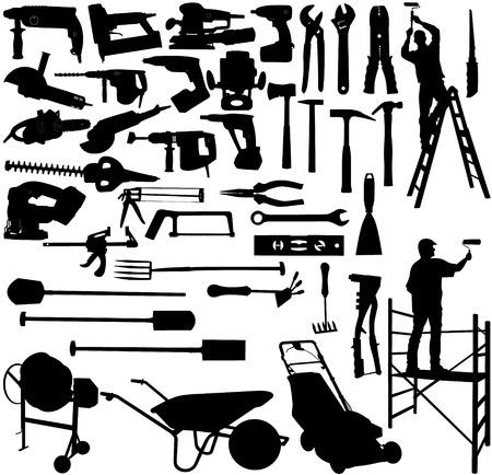 vector afbeelding van de verzameling gereedschappen en werknemers Vector Illustratie