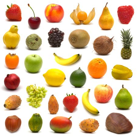 large page of fruits on white background Stock Photo