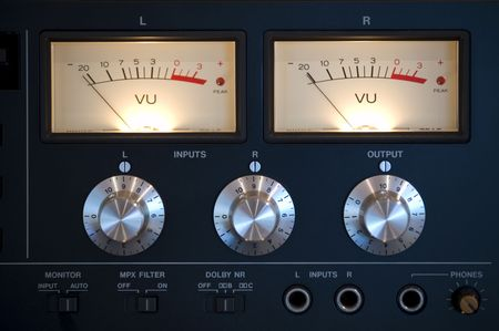 tweeter: Old-style modern amplifier closeup Stock Photo