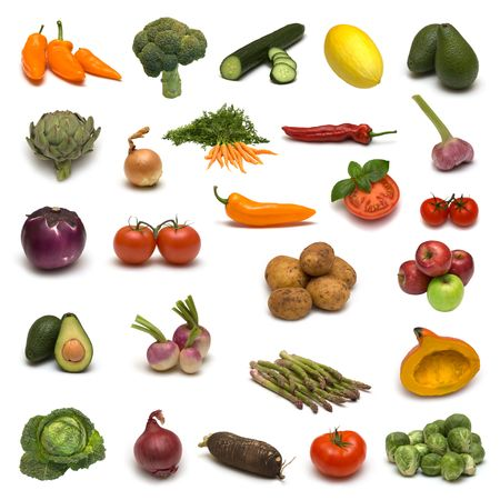large page of vegetables and fruits on white background