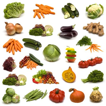 large page of vegetables on white background photo