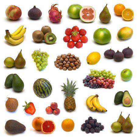 果物やナッツ白い背景の上の大規模なページ