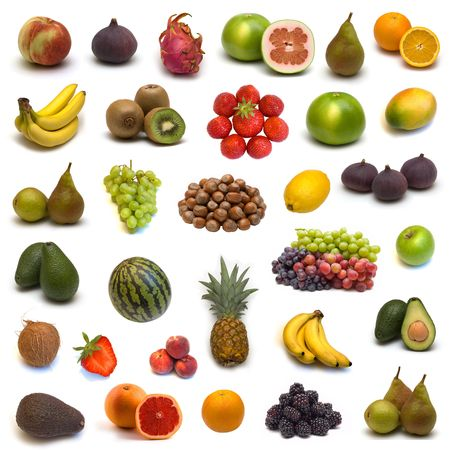 large page of fruits and nuts on white background Stock Photo