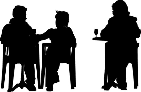 men bars: vector image of people setting at the cafeteria