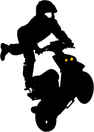 stunt: vector image of trick on scooter