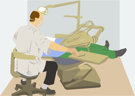 vector image of dentist at work Vector