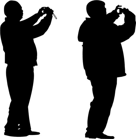 vector image of two tourists photograph Stock Vector - 3226441