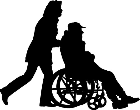 wheelchair man: vector image of woman pushing man in the wheelchair on a walk