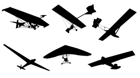 vector image of gliders and hang glider Illustration