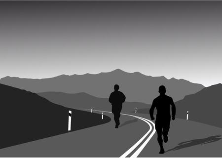road runner: vector de imagen de deportistas corriendo en una carretera de monta�a-un estilo de vida saludable y el concepto