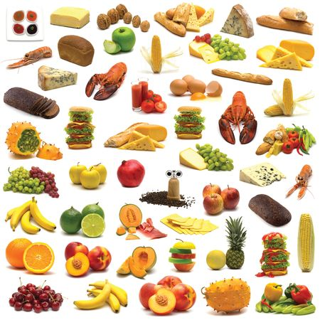 food assortment on white background Stock Photo