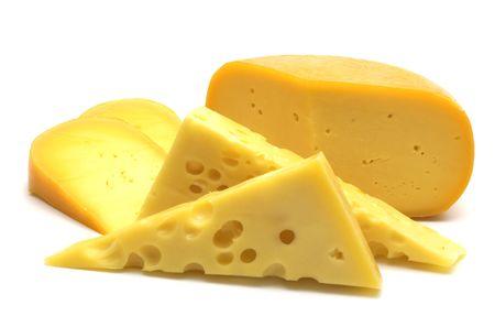 白い背景の上のチーズ