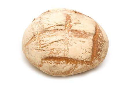 round bread on white background Stock Photo - 3261393