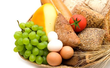 food assortment on white background Stock Photo