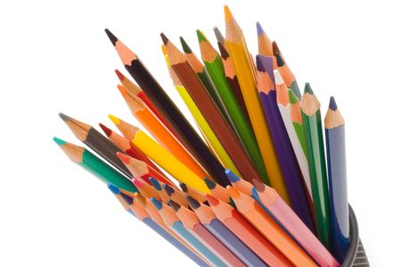 colorful crayons on white background
